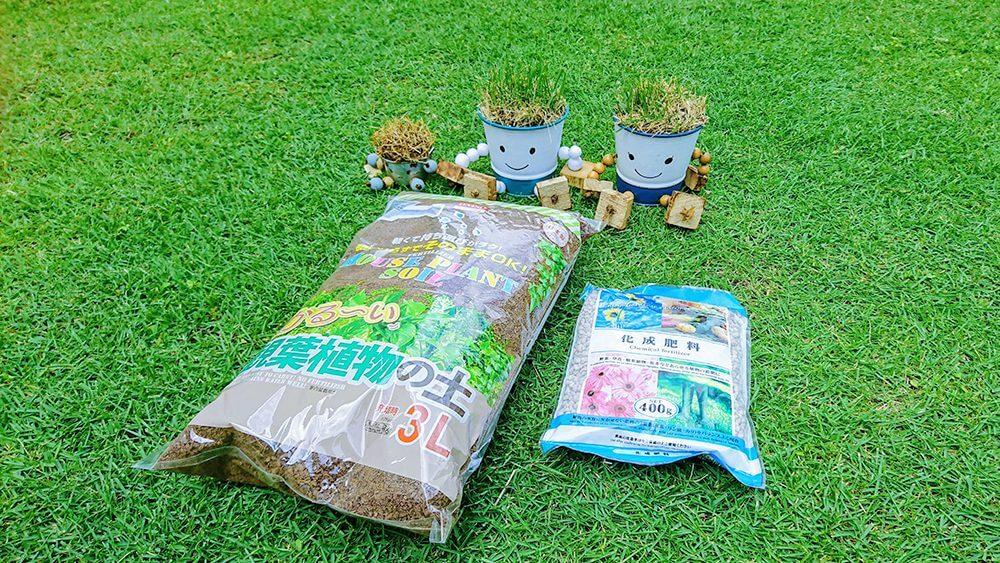 観葉植物の土と化成肥料